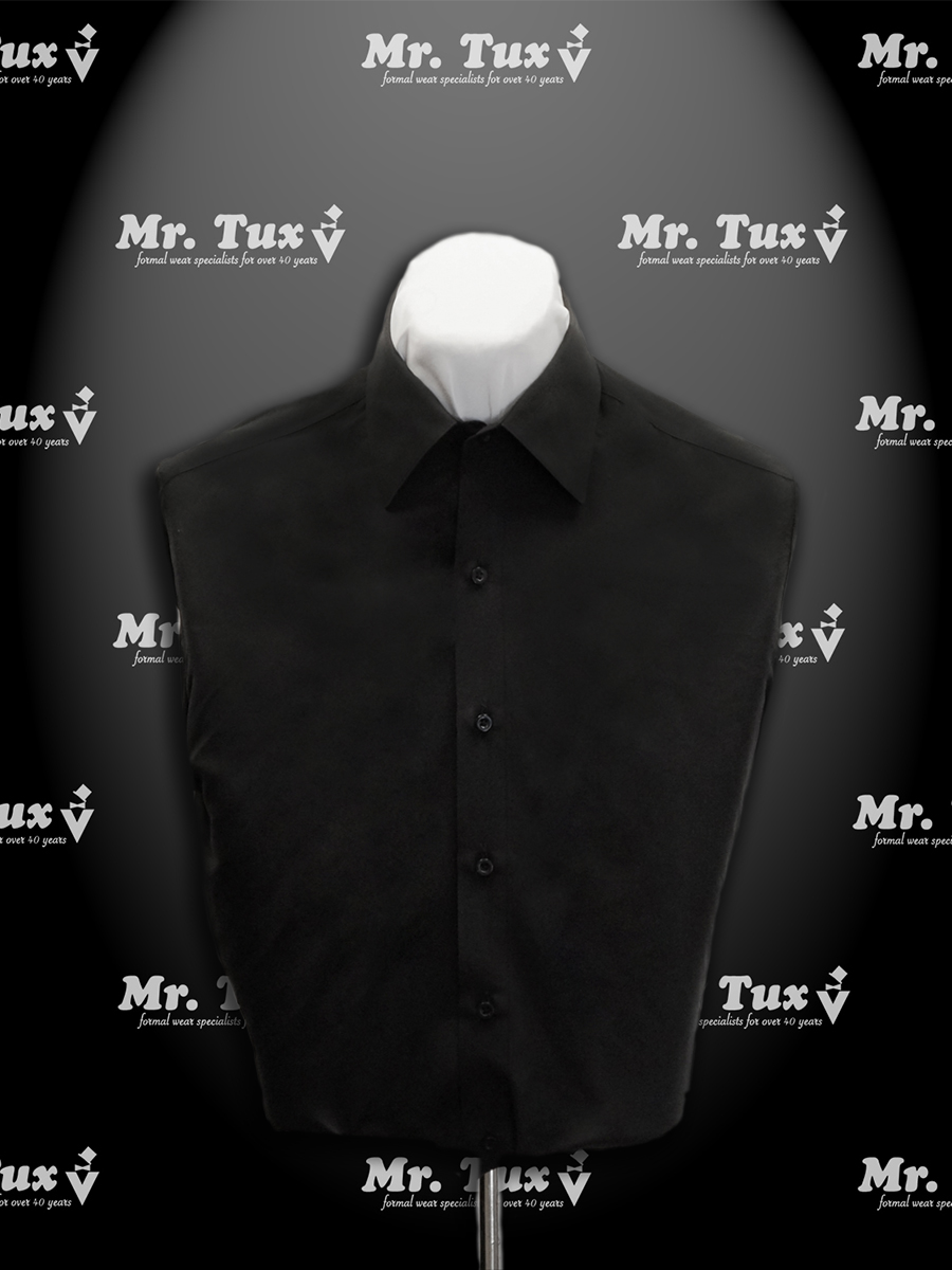 Black Fitted Microfiber Shirt